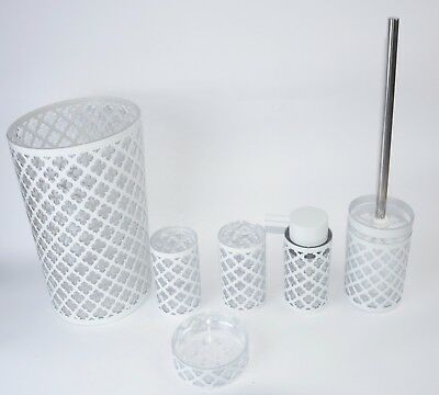 Royal Trellis White 7 PC Bath Accessory Set