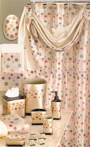 Sunset Dots Gold Shower Curtain with Valance - 5PC Bath Accessory Set