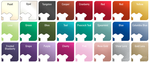 Siser EasyWeed Electric Heat Transfer Vinyl Color Chart