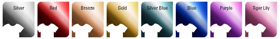 Siser Metal Heat Transfer Vinyl Color Chart: Silver, Red, Bronze, Gold, Silver Blue, Blue, Purple, Tiger Lily