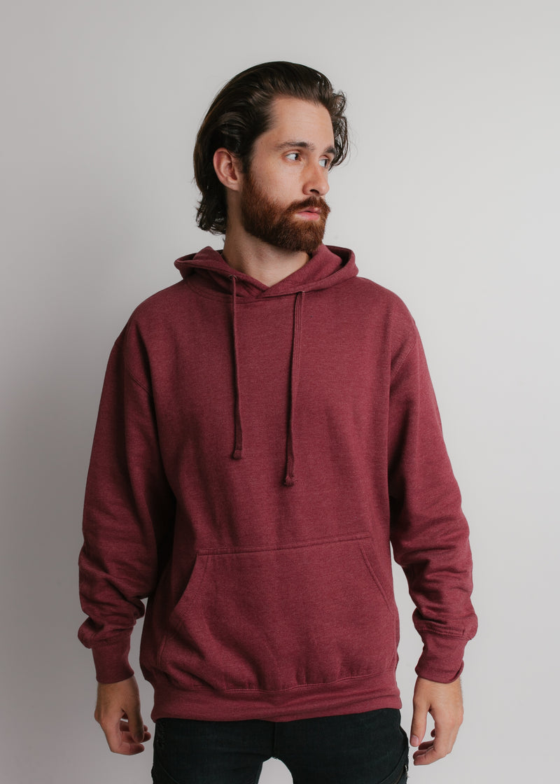 101 Adult Comfort Hoodie Burgundy Heather Front Full View