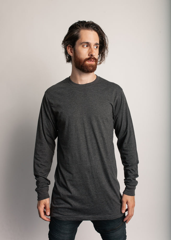 1401 Men's Long Sleeve Tee Shirt (Charcoal heather)