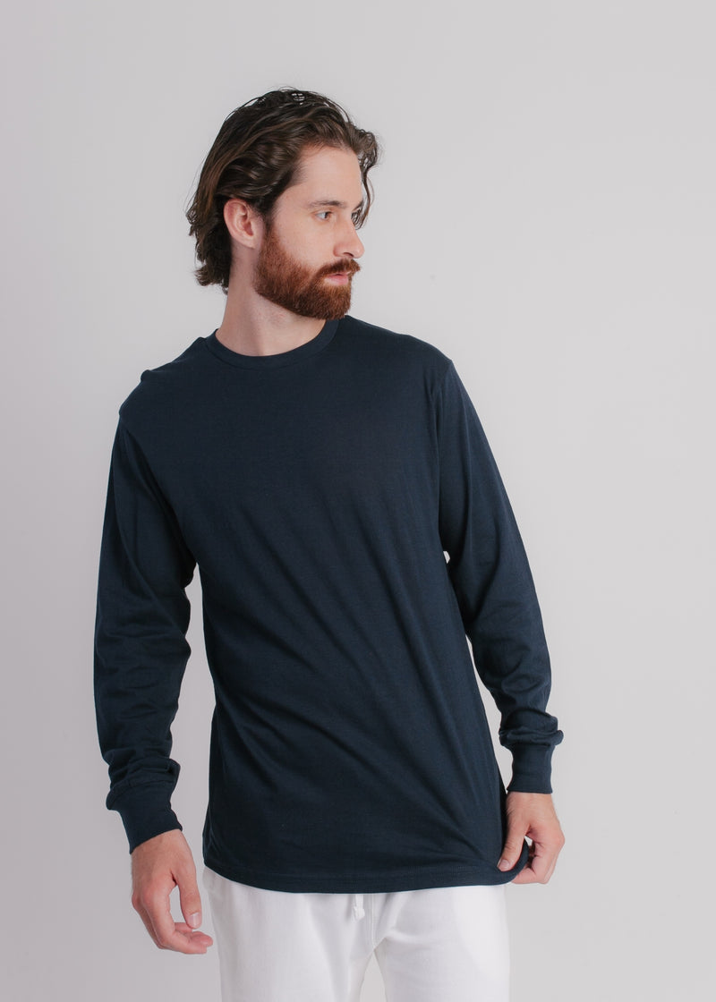 1401 Men Long Sleeve T Shirt Navy Front Full View