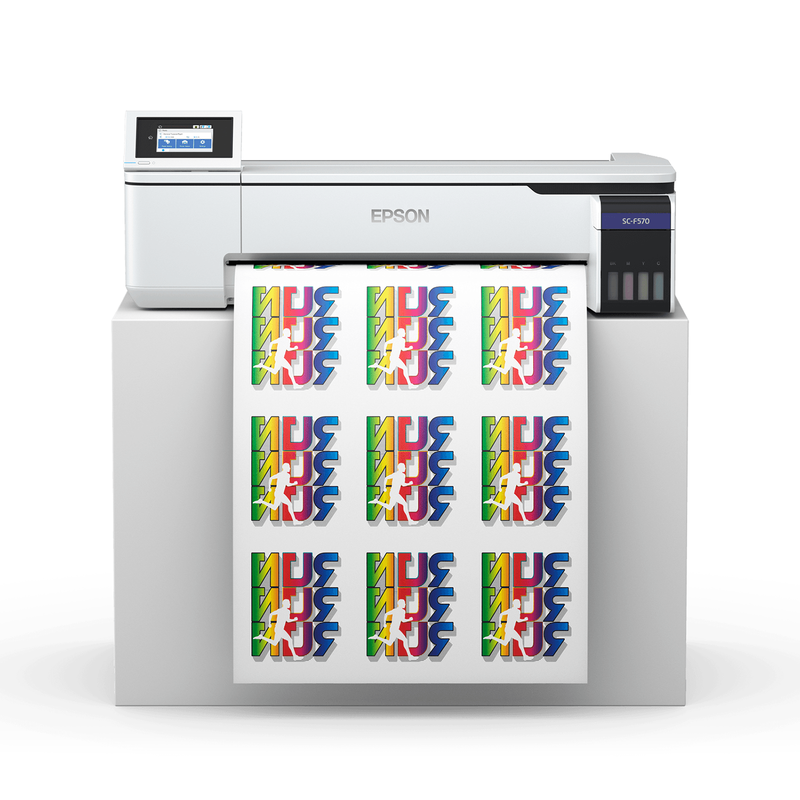 "Epson SureColor F570 24"" Dye Sublimation Printer with Dye Sublimation Paper Front View"