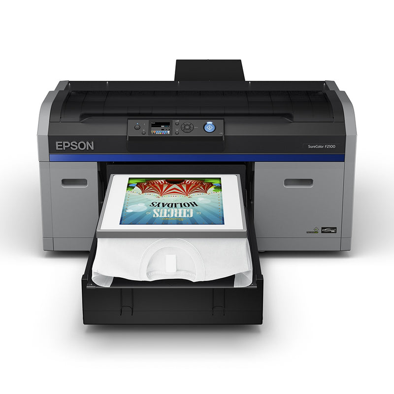 Epson F2100 Direct to Garment Printer with T-Shirt on Platen Front View