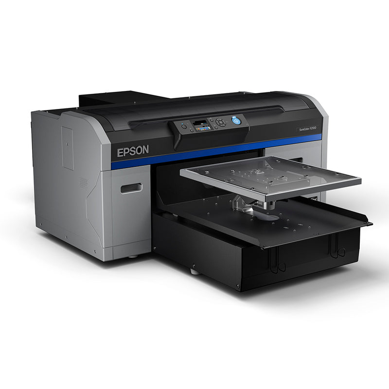 Epson F2100 Direct to Garment Printer with Platen Angled Right Side View