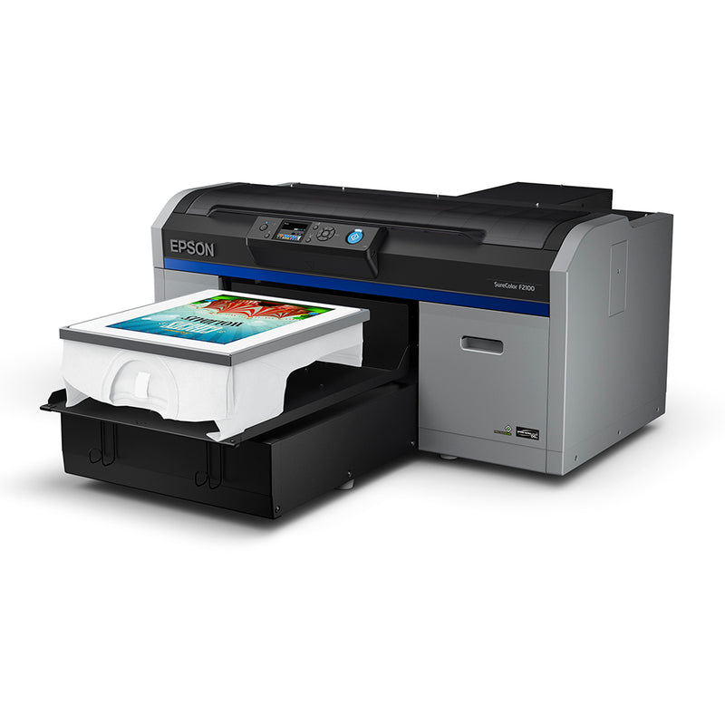 Epson F2100 Direct to Garment Printer with T-Shirt on Platen Angled Left Side View