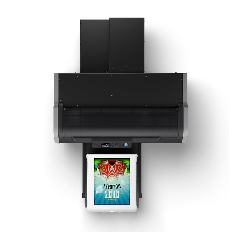 Epson F2100 Direct to Garment Printer with T-Shirt on Platen Top View