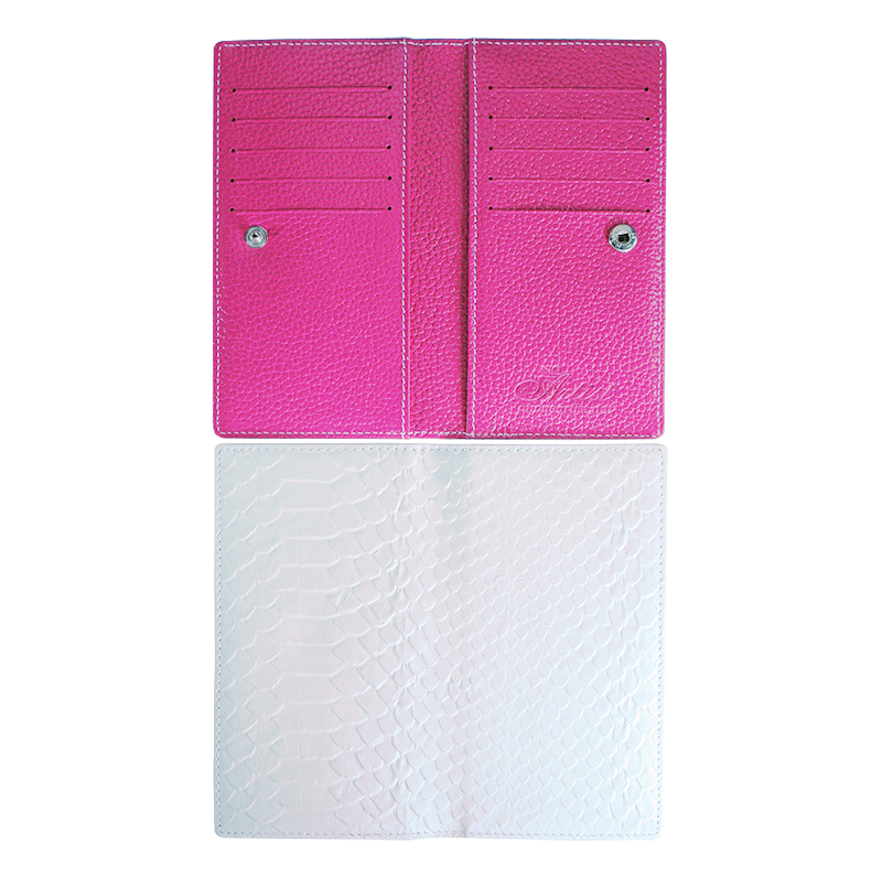 blank PU leather passport cover with hot pink lining
