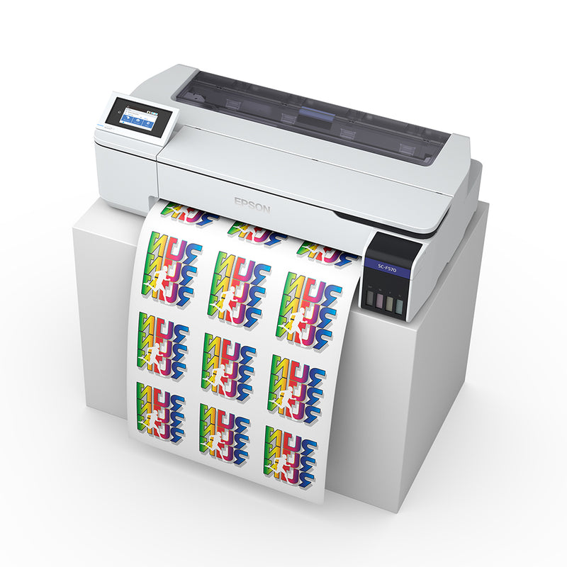 "Epson SureColor F570 24"" Dye Sublimation Printer with Dye Sublimation Paper Angled Top Side View"