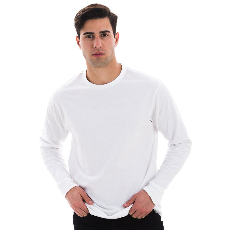 1401 Men Long Sleeve T Shirt White Front View