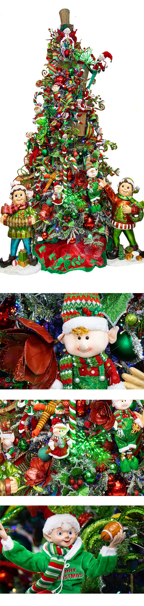 Razzle Dazzle christmas tree and closeup photos of ornaments