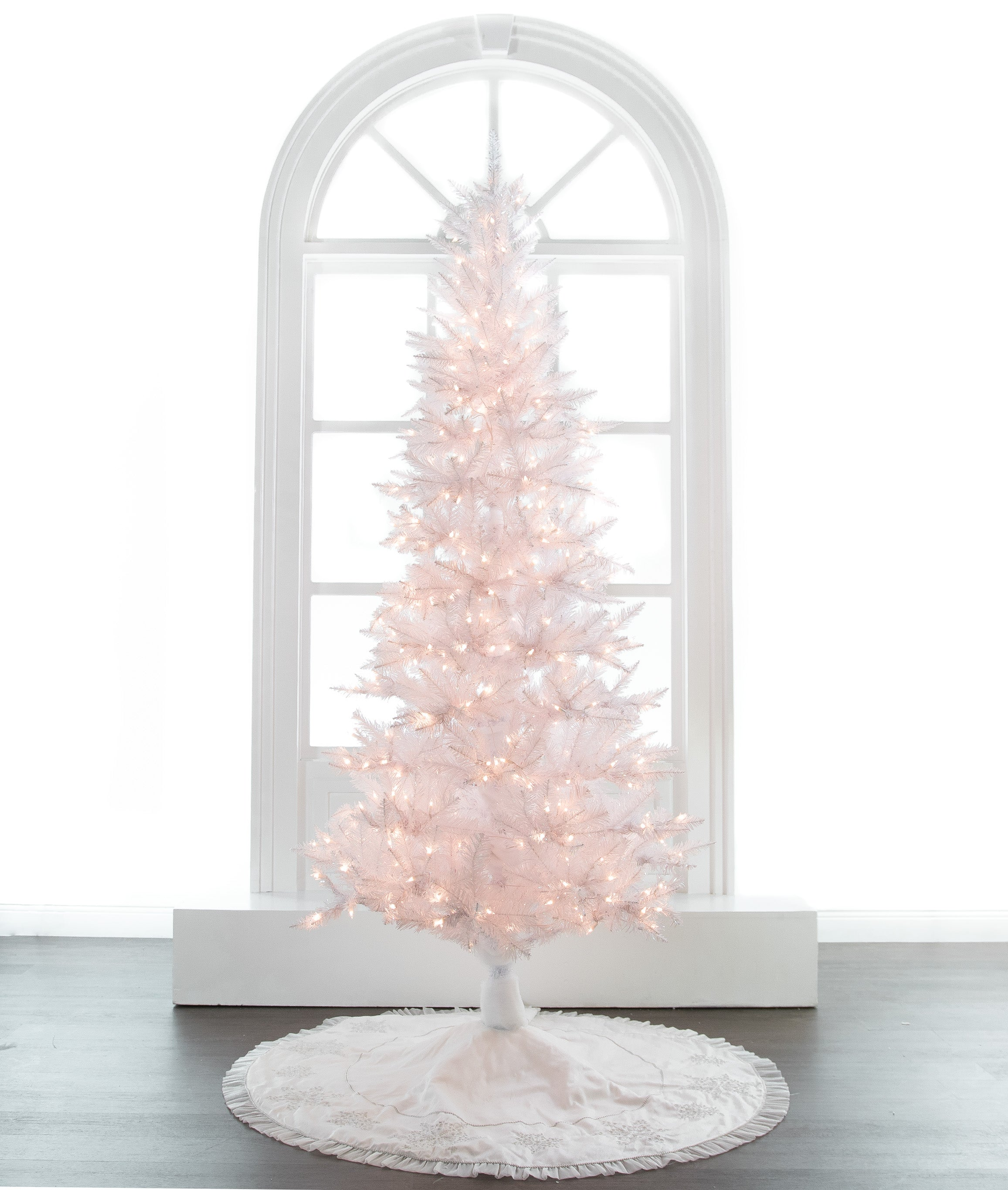 White Tiffany Tree PreLit Clear Lights