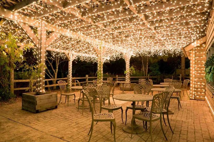 Deck ceiling covered in LED lights