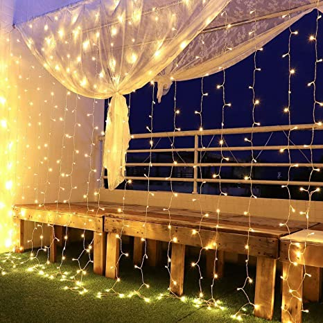 Deck railing covered in LED lights