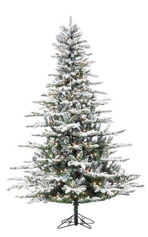 FLOCKED MOUNTAIN SPRUCE TREE PRELIT