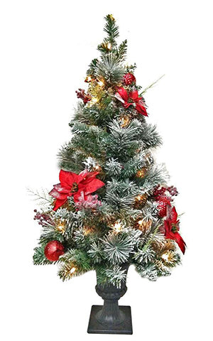 POINSETTIA FLOCKED 4' TREE CORDLESS