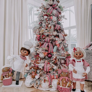 A childrens themed Christmas tree made by interior designers