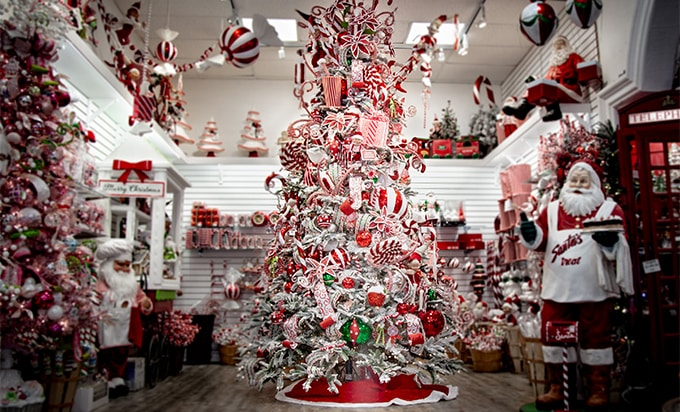 Candy Cane themed christmas tree and decorations