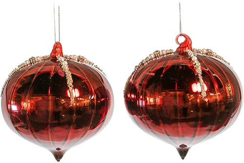 Two red christmas tree ornaments