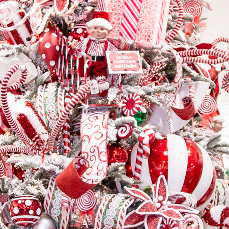 """8/"""" Large Candy Cane Christmas Tree Ornament Red /& White Striped Glitter"""