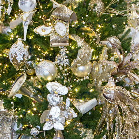 Platinum Treasures styled christmas tree