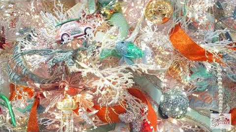 Closeup of an aquatic themed Christmas tree