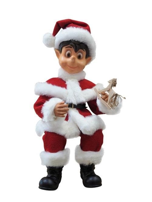 3.11 FT BOY ELF WITH SANTA CLOTHES ANIMATED INDOOR