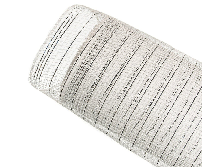 "20"" X 10 YD WHITE & SILVER METALLIC MESH SET OF 3 ROLLS"