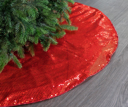 "48"" RED SEQUIN TREE SKIRT"