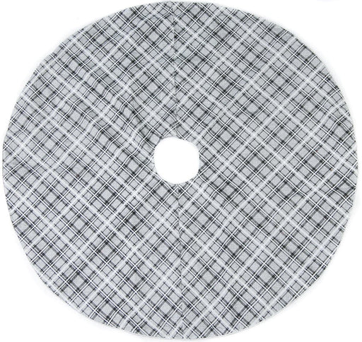 "48"" GREY, WHITE, & BLACK PLAID TREE SKIRT"