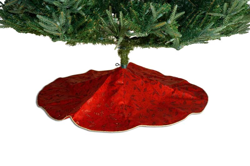 "48"" RED & GOLD GLITTER LEAVES TREE SKIRT"