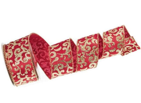 "2.5"" x 10YDS RED & GOLD SWIRL PATTERN RIBBON  CASE of 12"