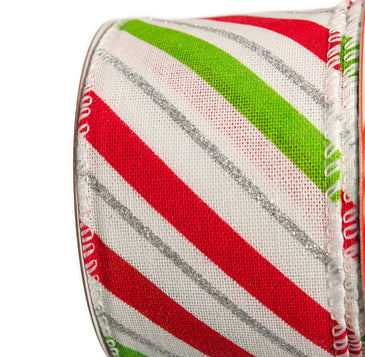 "2.5"" X 10YD WHITE, RED, & LIME RIBBON CASE of 12"