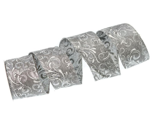 "2.5"" X 10YD PEWTER & SILVER RIBBON CASE of 12"
