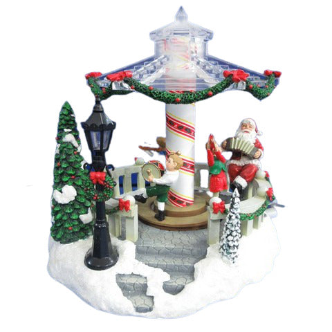 SANTA WITH BAND ROTATING FIGURINE