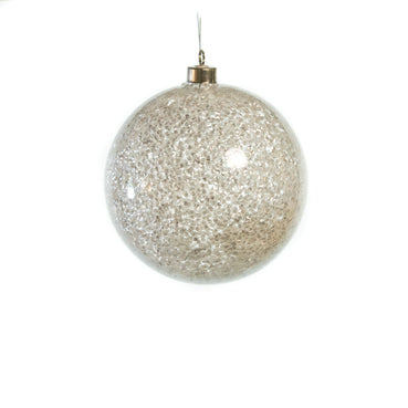 "6"" CLEAR GLITTER BALL ORNAMENT SET OF 6"