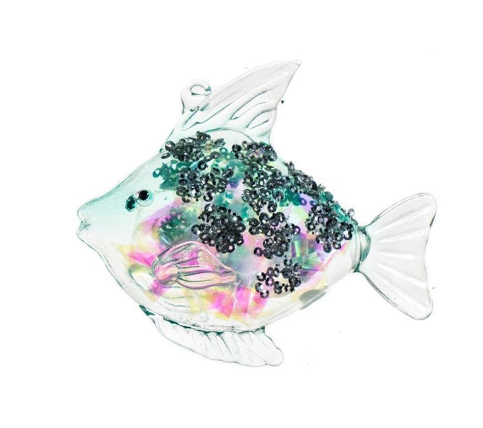 "3.75"" AQUA FISH GLASS ORNAMENT SET OF 6"