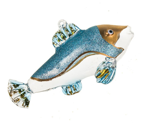 "3.25"" BLUE FISH GLASS ORNAMENT SET OF 4"