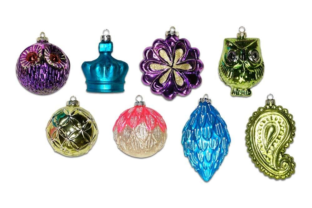 "3"" - 4"" BRIGHT BOHEMIAN GLASS ORNAMENTS SET OF 24"