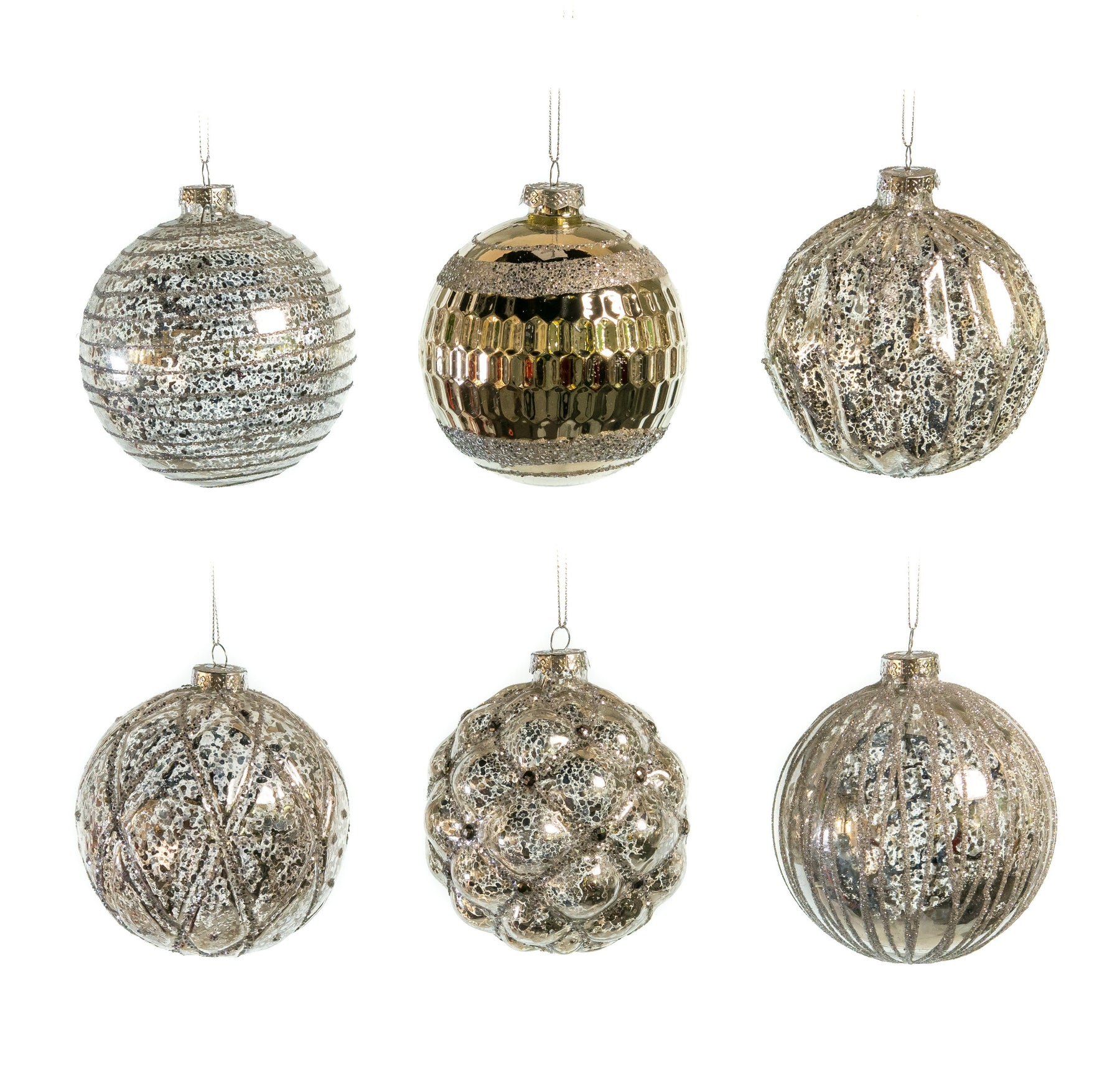 "5"" GLASS PEWTER BALL DECORATIVE ORNAMENT ASSORTED SET OF 6"