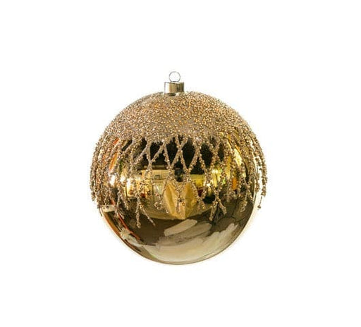 "8"" GOLD SHINY GLASS BALL WITH GLITTER SET OF 2"