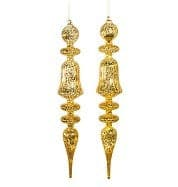 "21"" GLASS GOLD FINIAL ORNAMENT SET OF 2"