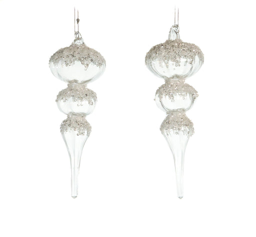 8' CRYSTAL FINIAL WITH GLITTER SET OF 4