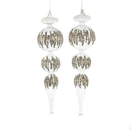 "16"" CRYSTAL FINIAL WITH GLITTER ORNAMENT SET OF 2"