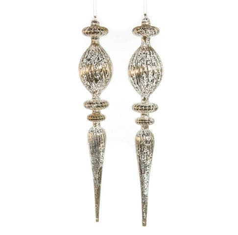 "22"" PEWTER GLASS FINIAL ORNAMENT SET OF 2"