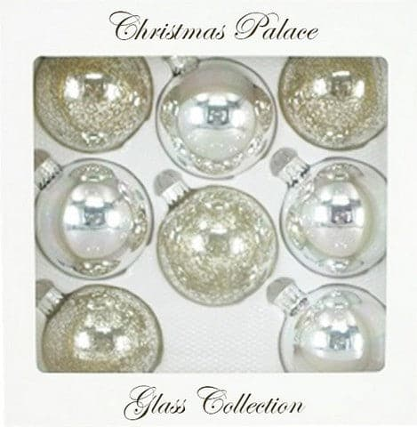 "2.5"" SILVER GLASS BALL PACK OF 24"