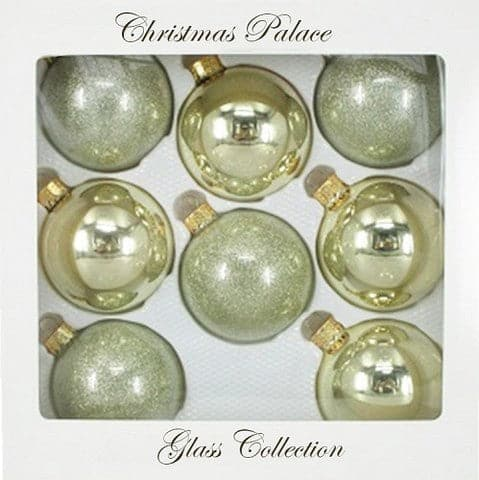 "2.5"" SOFT GOLD BALL GLASS ORNAMENTS PACK OF 8"