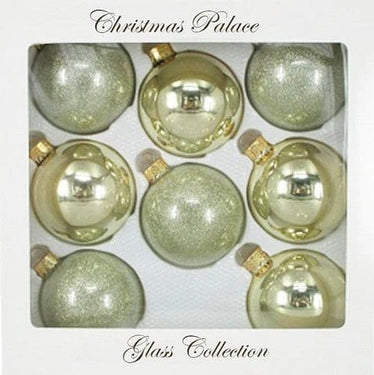 "2.5"" GOLD BALL GLASS ORNAMENTS PACK OF 8"