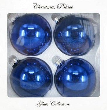 "4"" BLUE BALL GLASS ORNAMENT PACK OF 4"